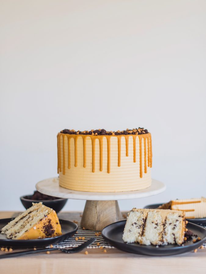 Butterscotch Chocolate Chip Cake #cakebycourtney #butterscotchchocolatechipcake #cake