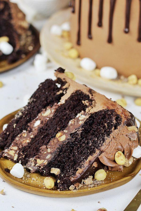 Rocky Road Cake #rockyroadcake #rockyroad #cake #chocolatecake #easychocolatecake #cakebycourtney