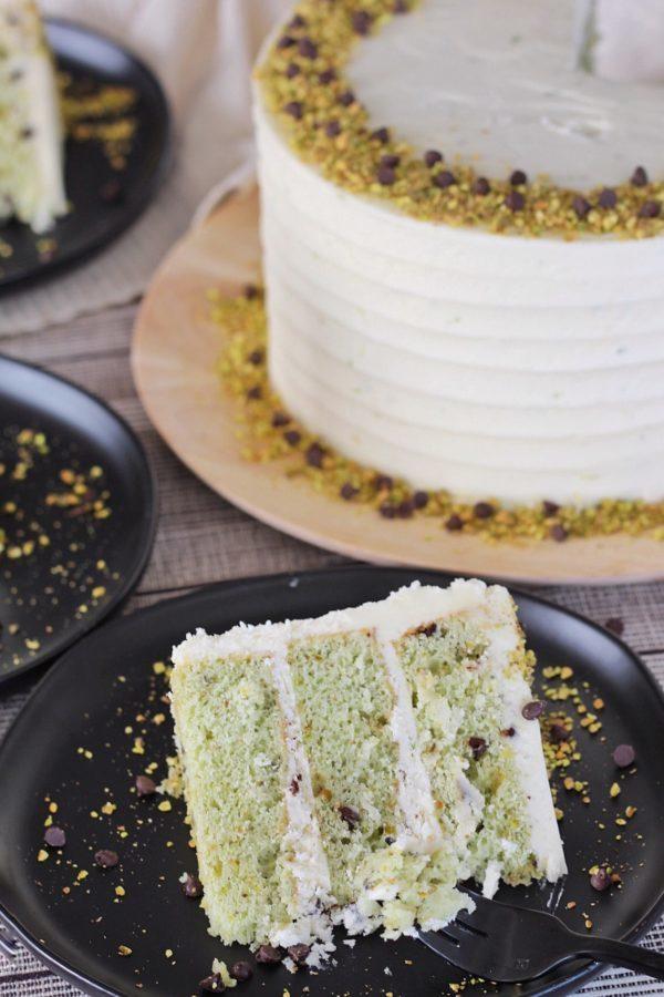 Pistachio Chocolate Chip Cake #cakebycourtney #pistachiocake #pistachiochocolatechipcake #cake #stpatricksdaycake #cakerecipe