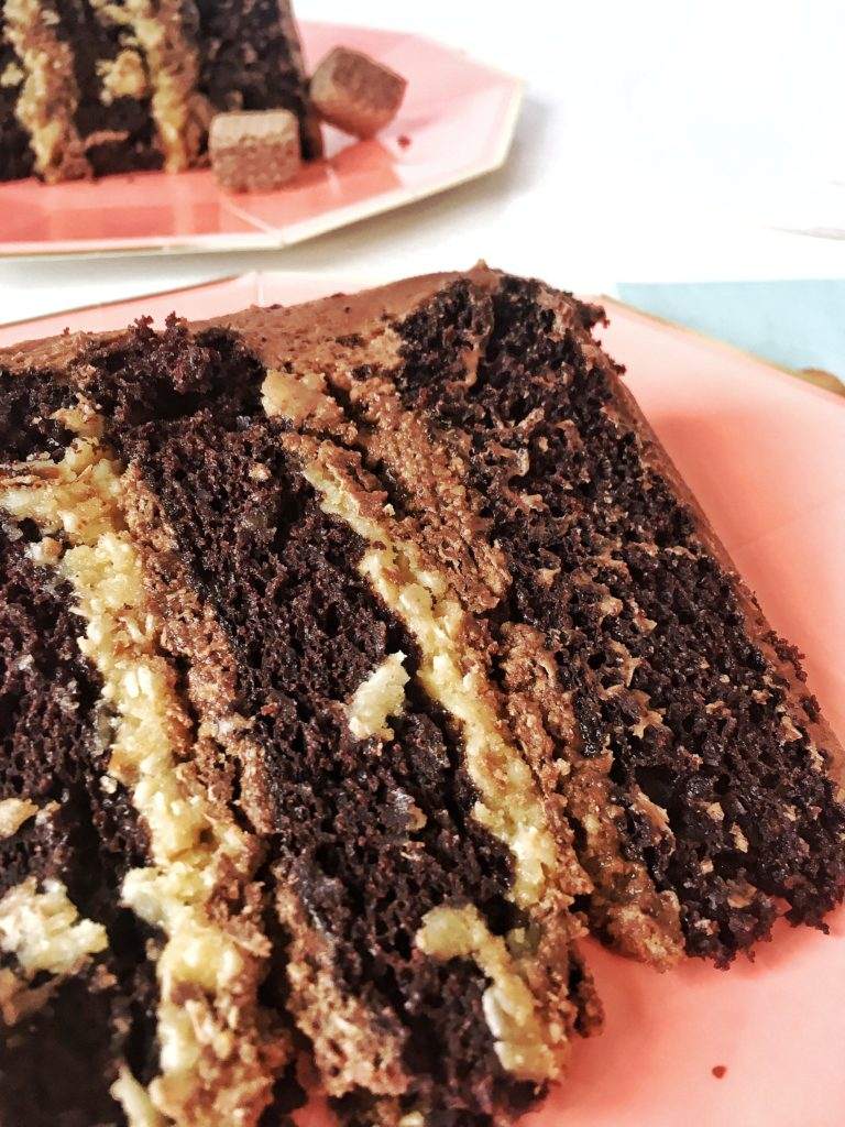German Chocolate Cake Close Up  Cake by Courtney