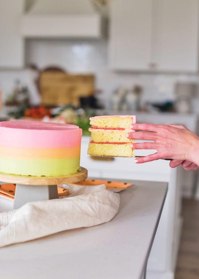 Rainbow Sherbet Cake #cakebycourtney #rainbowsherbetcake #yellowcake #yellowcakerecipe #rainbowsherbetcakerecipe #rainbow #springcake #cake