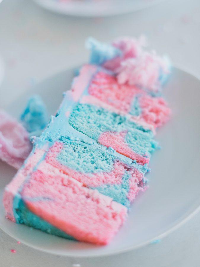 Cotton Candy Cake - Cotton candy flavored cake and buttercream #cakebycourtney #cottoncandy #cottoncandycake #cake #easycakerecipe #howtomakecake #cakefromscratch #summercake