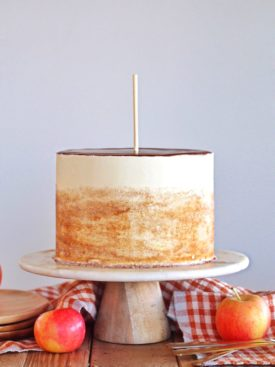 Inspired by the Rocky Mountain Chocolate Factory Apple Pie Caramel Apple, my Caramel Apple Cake is made up of caramel cake layers, apple pie filling, caramel and white chocolate frosting #cakebycourtney #caramelapple #caramelcake #caramelapplecake