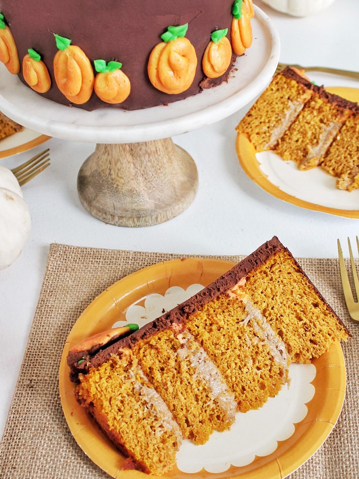Pumpkin Cake with Maple Cinnamon Cheesecake and Chocolate ...