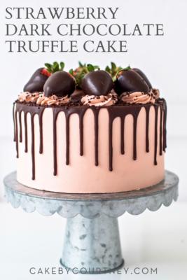 Strawberry Dark Chocolate Truffle Cake from Cake by Courtney www.cakebycourtney.com