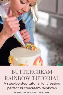 Buttercream Rainbow Tutorial- a step by step tutorial for creating perfect buttercream rainbows. www.CakeByCourtney.com