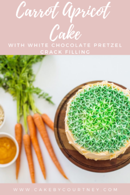 Carrot Apricot Cake with white chocolate pretzel crack filling. www.cakebycourtney.com