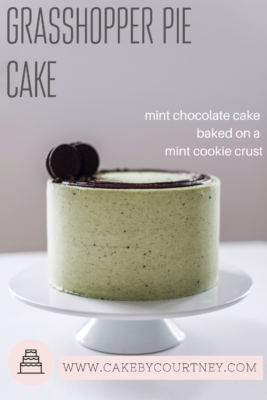 Grasshopper Pie Cake- mint chocolate cake baked on a mint cookie crust. A recipe by www.CakeByCourtney.com
