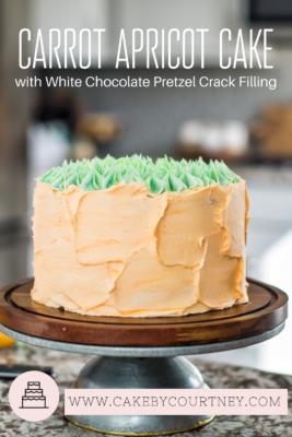 Carrot Apricot Cake with White Chocolate Pretzel Crack Filling www.CakeByCourtney.com