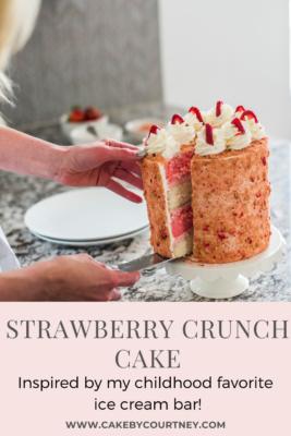 Strawberry Crunch Cake inspired by my childhood favorite ice cream bar! www.CakeByCourtney.com