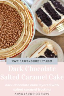 Dark Chocolate Salted Caramel Cake- dark chocolate cake layered with homemade salted caramel frosting. www.CakeByCourtney.com