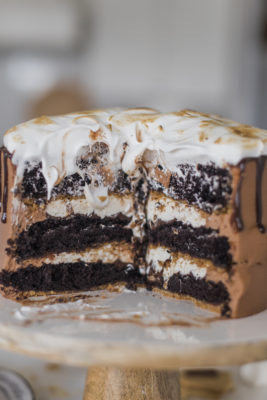 Ultimate S'mores Cake - Get ready for THE PERFECT summer cake! My dark chocolate cake layers are baked on a graham cracker crust, topped with chocolate ganache toasted marshmallow filling, chocolate buttercream and a toasted homemade marshmallow fluff. It doesn't get more ultimate than this! #cakebycourtney #ultimatesmorescake #chocolatecake #smores #smorescake #smorescakerecipe #smoresdessert #summerdessert #chocolate buttercream #summerrecipes #bestchocolatecakerecipe #bestchocolatecake #thebestchocolatebuttercream