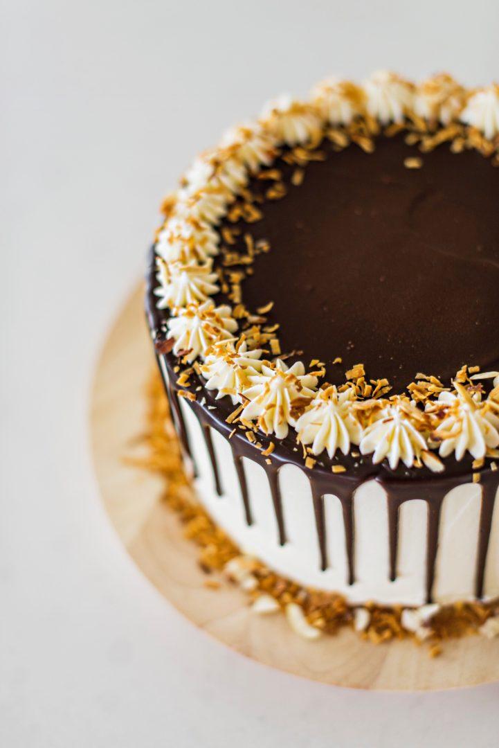 deliciously rich and layered chocolate almond joy cake. cakebycourtney.com