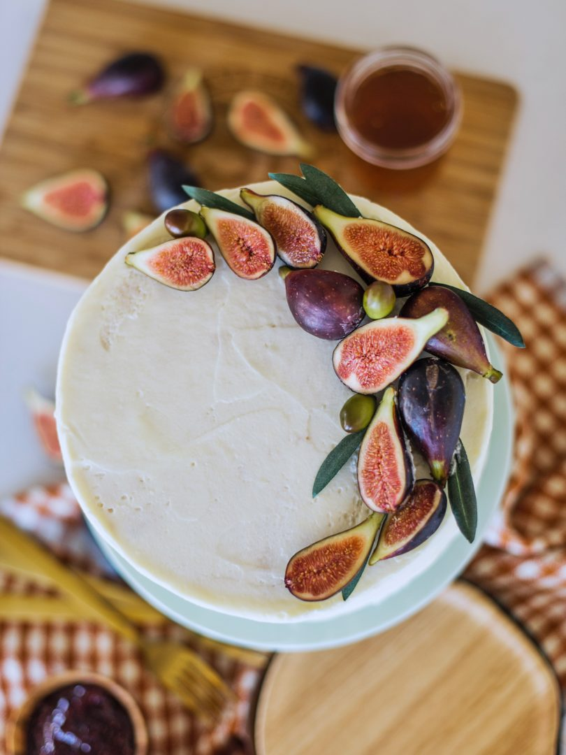 Sweet and Savory Honey Fig Goat Cheese Cake, Fall Cake, Goat Cheese Filling, Honey Fig Cake