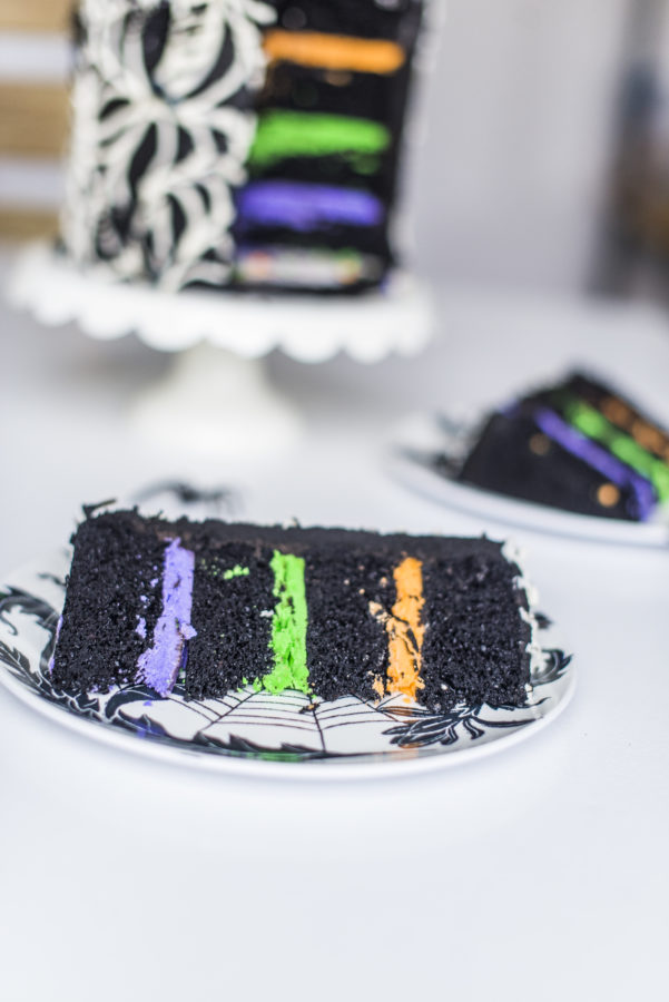 Three easy and cute Halloween cakes #halloweencakes #halloweencake #easyhalloweencakeideas #cutehalloweencakes #stripedcake #partyanimals #cakebycourtney #blackbuttercream #blackfrosting