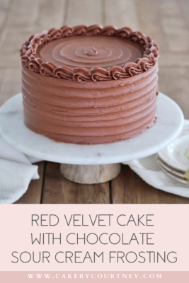 Red Velvet Cake with Chocolate Sour Cream Frosting www.cakebycourtney.com