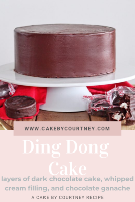 Ding Dong Cake- layers of dark chocolate cake, whipped cream filling, and chocolate ganache. www.cakebycourtney.com