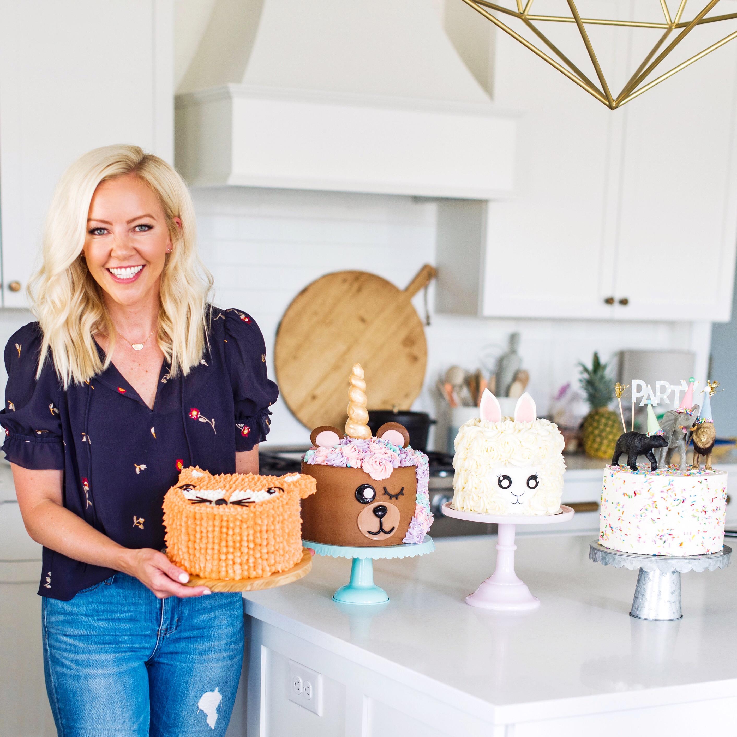 Four fun and easy animal cakes for any level baker! #cakebycourtney #cake #animalcakes #birthdaycake #unicorncake #bearcake #lambcake #foxcake #bearunicorncake #cakes #easybirthdaycakes