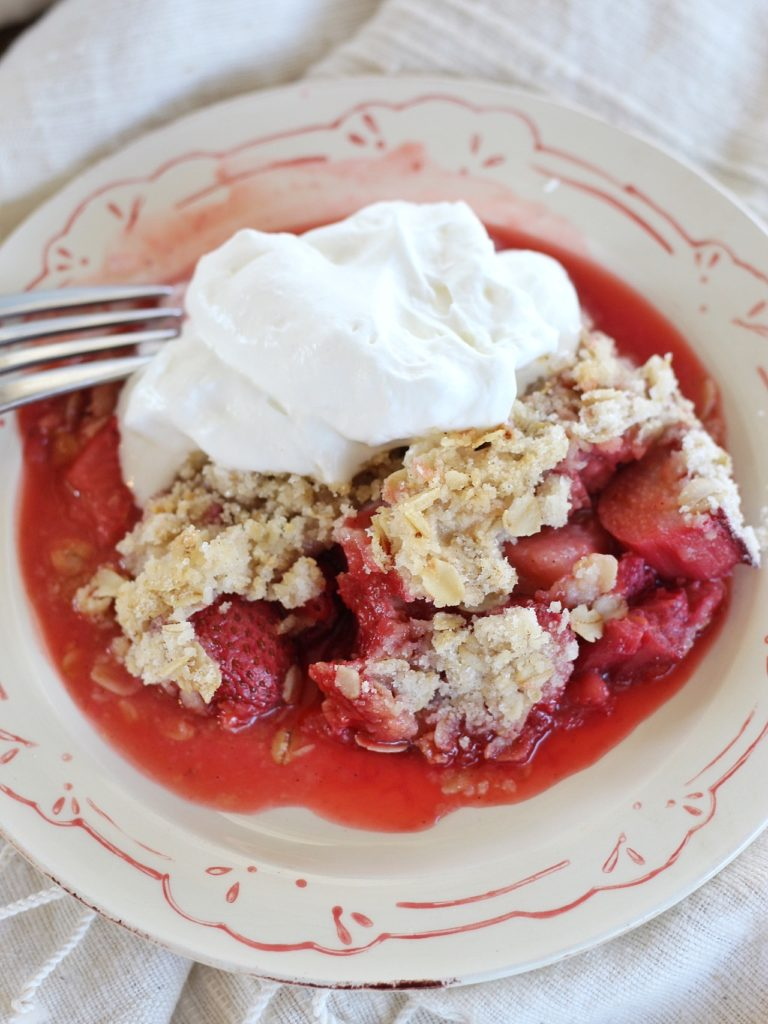 The Most Delicious Strawberry Rhubarb Crumble | Cake by Courtney