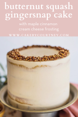 Butternut Squash Gingersnap Cake with maple cinnamon cream cheese frosting www.cakebycourtney.com