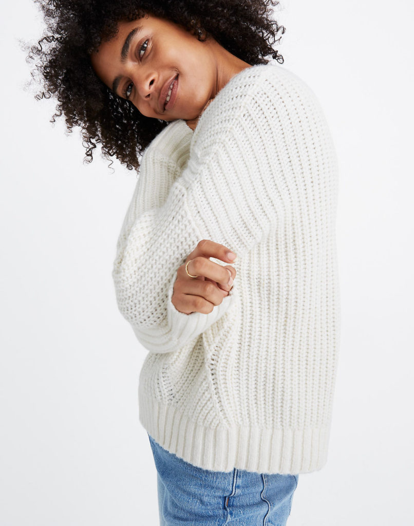white warm knit sweater