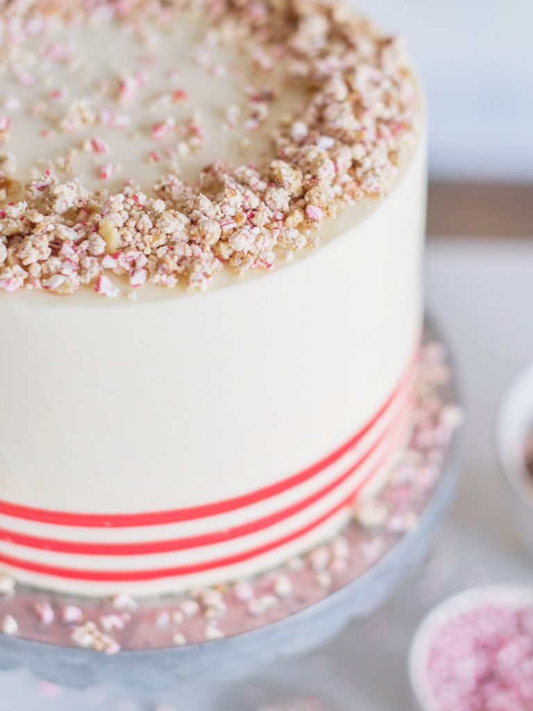 White Chocolate Peppermint Pretzel Cake #peppermintcake #christmascake #holidaycake #cakebycourtney