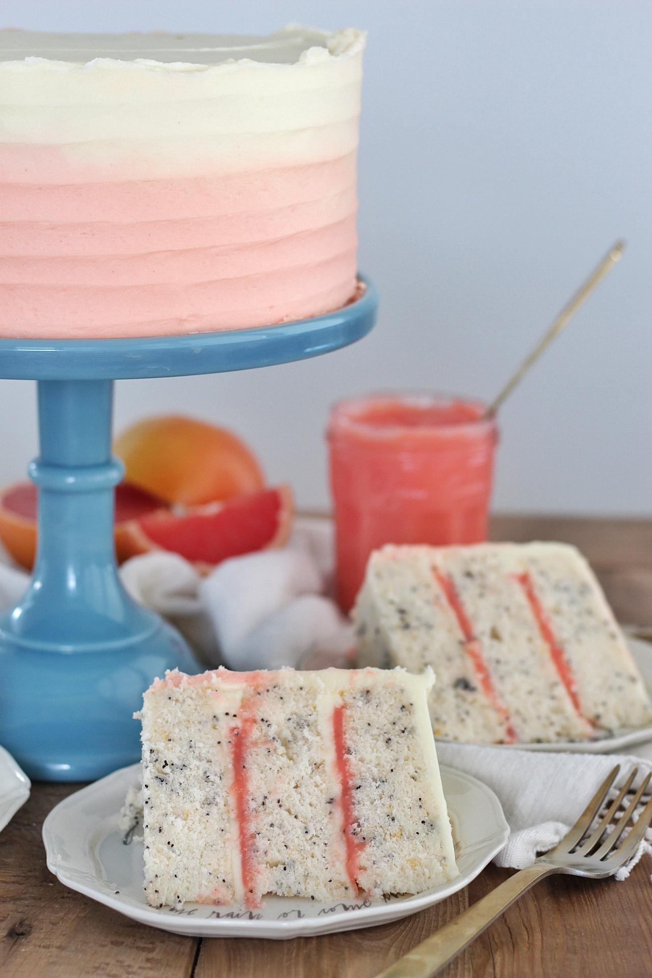 Grapefruit Poppy Seed Cake #cakebycourtney #Grapefruitpoppyseedcake #poppyseedcake #curd #easycake #grapefruit #grapefruitdessert