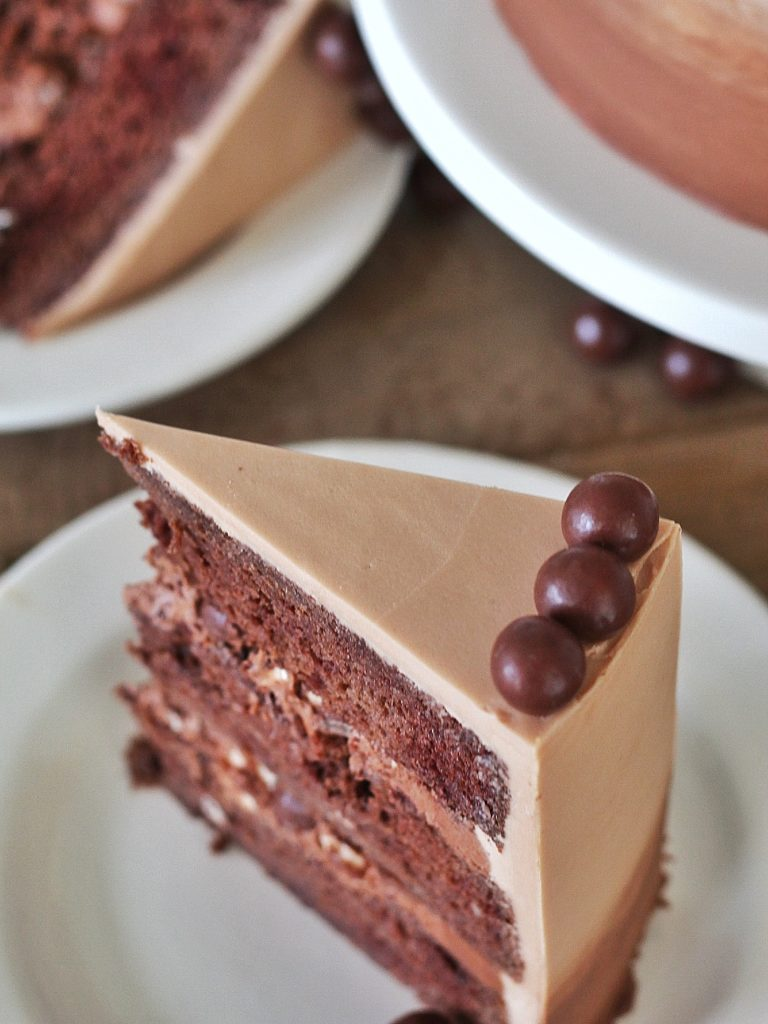 Chocolate Malt Cake #cakebycourtney #chocolatemaltcake #malt #maltcake #easycakerecipe #cake #buttercream #maltbuttercream