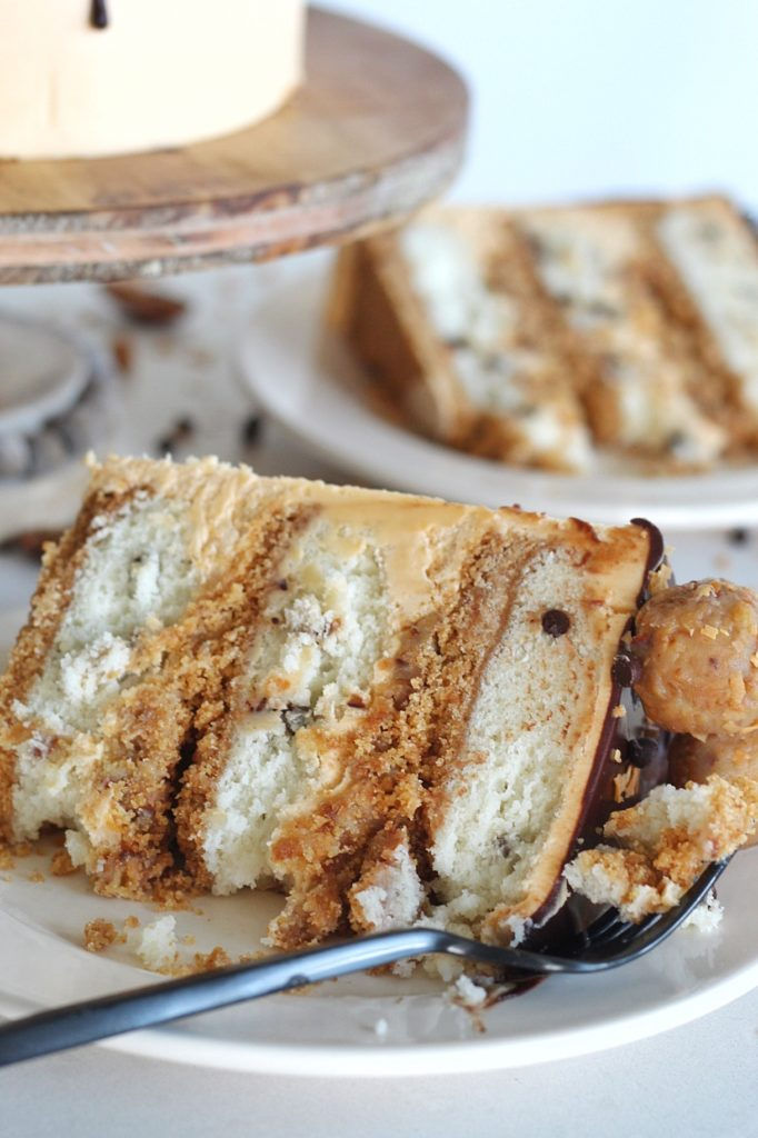 Seven Layer Bar Cake: inspired by a 7 layer bar, this Seven Layer Bar Cake is made up of graham cracker crust, coconut chocolate chip cake layers, a buttery, gooey coconut and pecan filling and a butterscotch buttercream. #sevenlayerbar #7layerbar #magicbars #sevenlayerbarcake #7layerbarcake #cake #layeredcake #birthdaycake #cakebycourtney