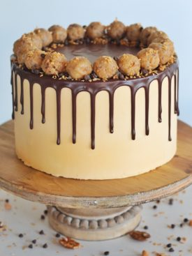 Seven Layer Bar Cake: inspired by a 7 layer bar, this Seven Layer Bar Cake is made up of graham cracker crust, coconut chocolate chip cake layers, a buttery, gooey coconut and pecan filling and a butterscotch buttercream. #sevenlayerbar #7layerbar #magicbars #sevenlayerbarcake #7layerbarcake #cake #layeredcake #birthdaycake