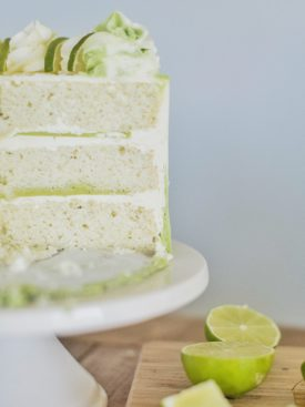 Mojito Cake: tender and fluffy white cake layers infused with lime and mint, with a lime curd and mint buttercream. #cakebycourtney #mojitocake #summercake #cake #cakerecipe #easycakerecipe #mojito