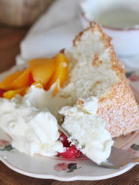Angel Food Cake Recipe: Light and fluffy angel food cake with a hint of citrus. #angelfoodcake #angelfoodcakerecipe #angelfood #angelcake #easyangelfoodcakerecipe #cakebycourtney