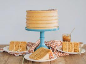 Caramel Cake - caramel cake layers with caramel drizzle and caramel buttercream. #cakebycourtney #caramelcake #cakerecipe #caramelrecipe #caramel #fallcake