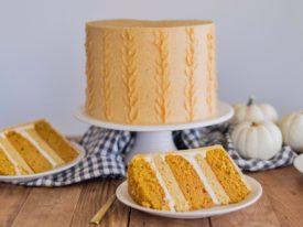 Pumpkin Sugar Cookie Cake - deliciously moist and fluffy pumpkin cake layers, with boiled milk frosting, pumpkin sugar cookies and pumpkin buttercream! #cakebycourtney #pumpkincake #pumpkindessert #desserts #fall #Falldesserts #fallcakeidea #falldessertideas