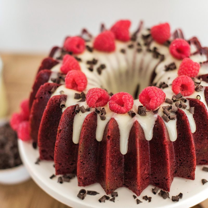 The most delicious red velvet bundt with a cream cheese icing. #redvelvetcake #redvelvetbundtcake #valentinesdaycake #valentinesdessert #valentinesrecipe #redvelvet #cakebycourtney