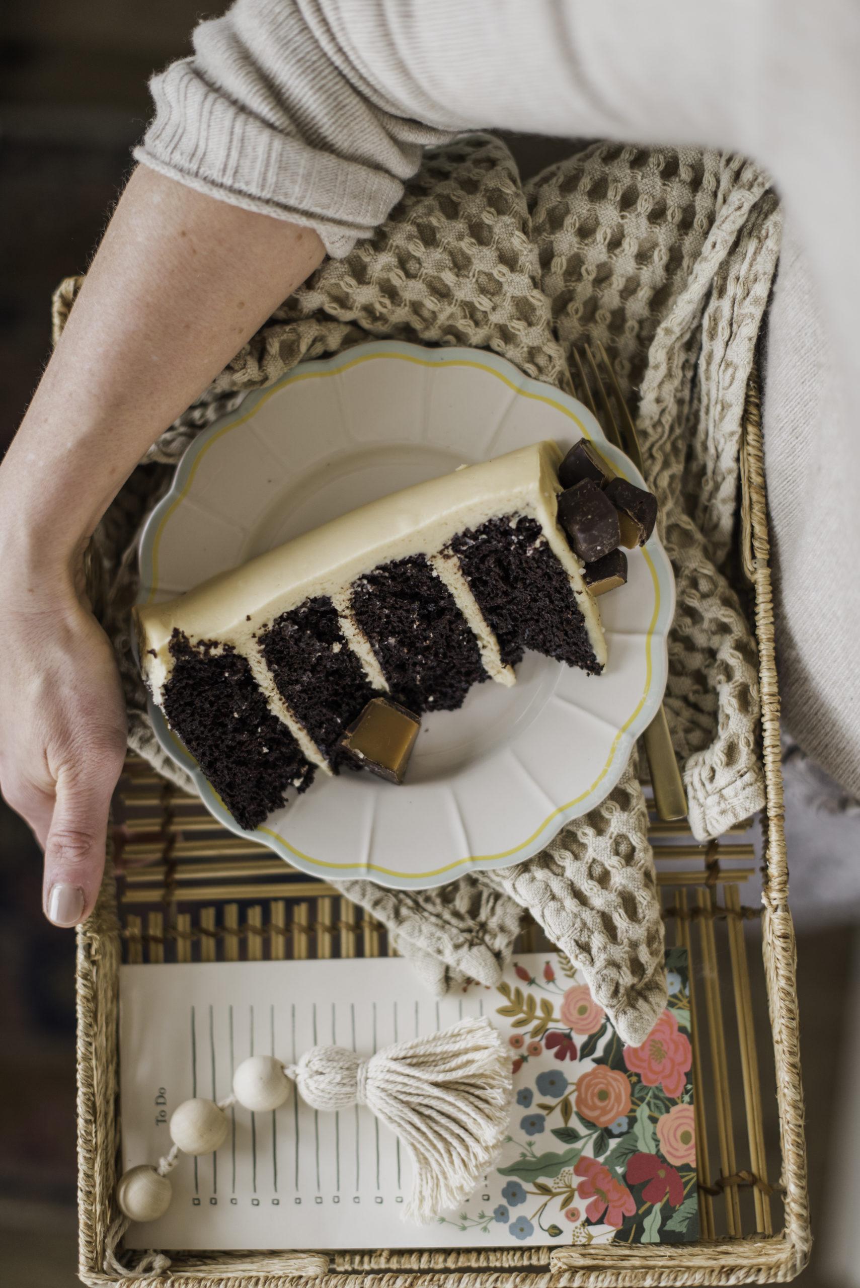 Chocolate Salted Caramel Cake -rich, dark chocolate cake layers with a delicious salted caramel buttercream. #cakerecipe #cakerecipesforfathersday #fathersdaycakes #cake #chocolatecake #bestchocolatecakerecipe