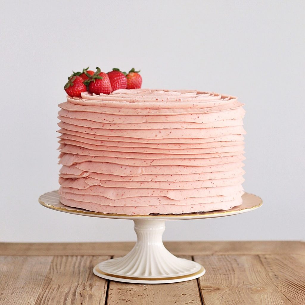 Strawberries and Cream Fruit Filled Cake