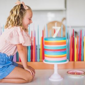 Striped Buttercream Rainbow Cake - this 8-inch round, 10-inch tall cake is the ultimate rainbow birthday cake #birthdaycake #rainbowcake #buttercreamcake