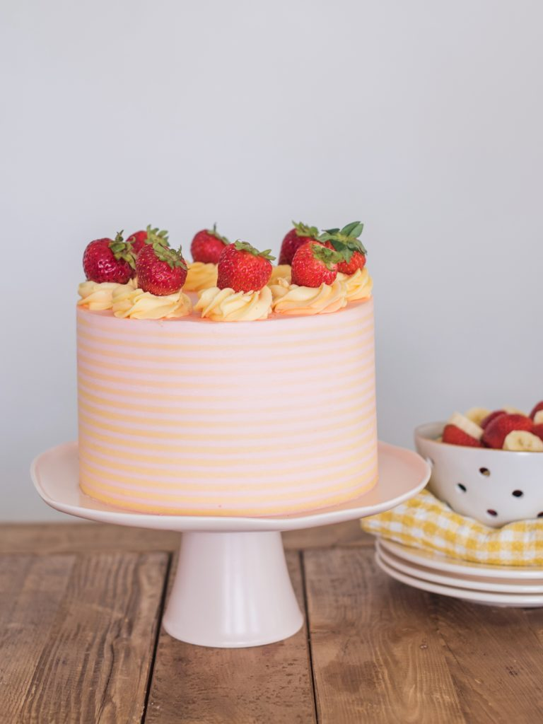 Strawberry Banana Milkshake Cake | Cake by Courtney