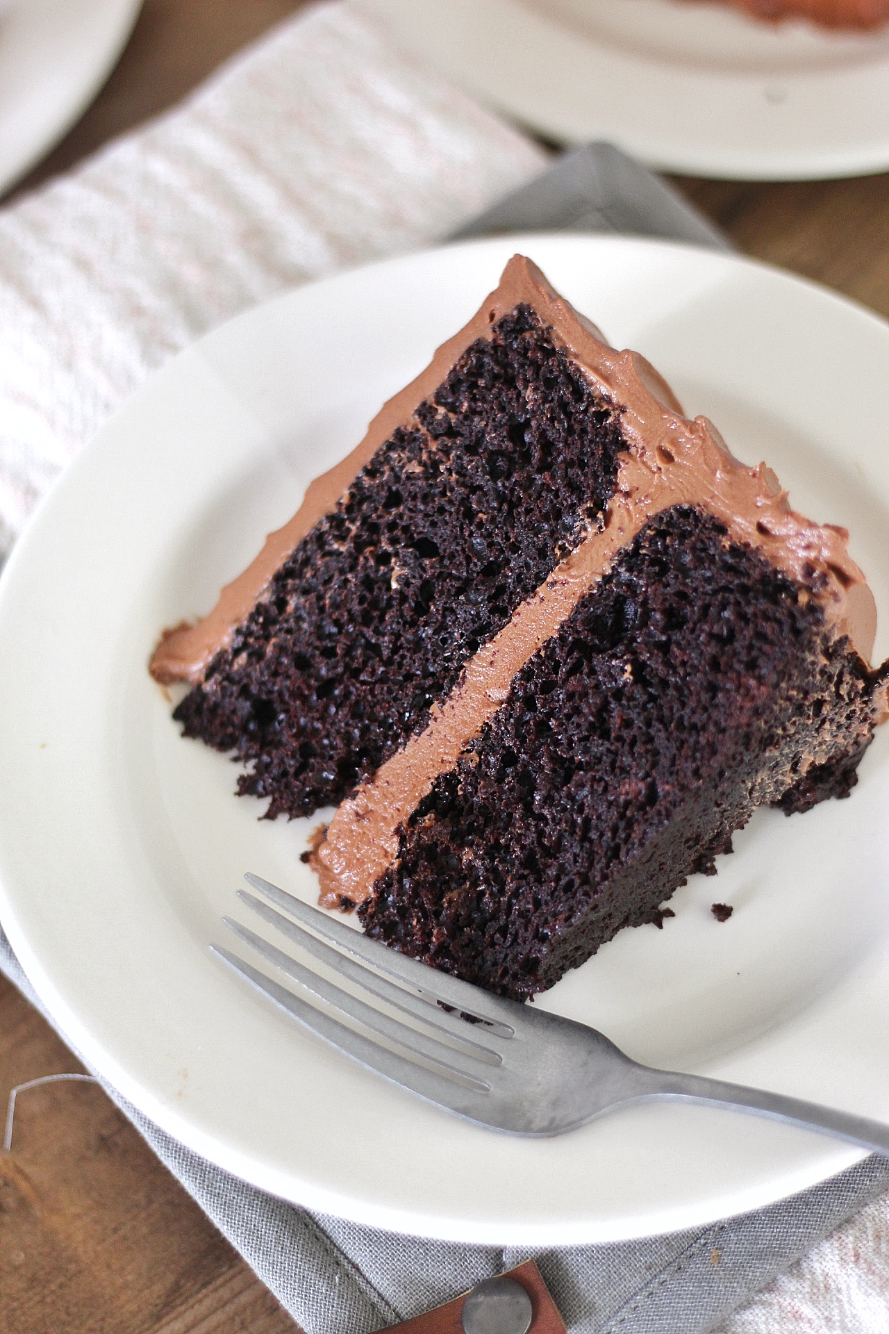 Take a look at how moist these chocolate cake layers are.