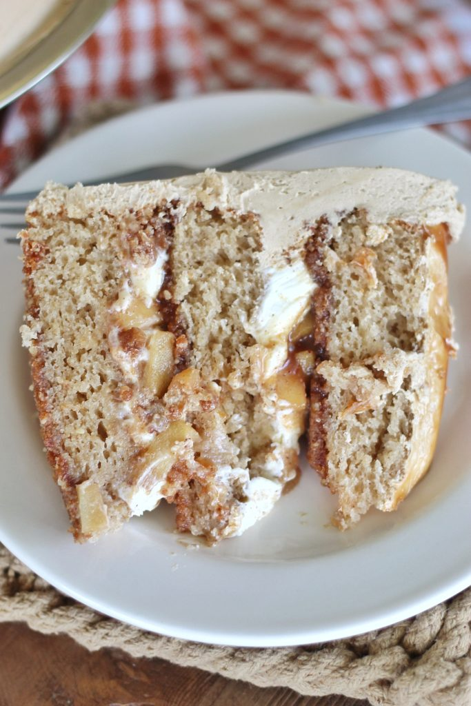 Caramel Apple Cheesecake Cake with Biscoff Crust | Cake by Courtney