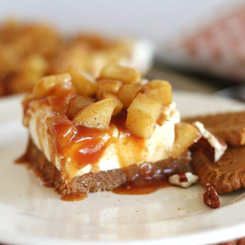 No-Bake Caramel Apple Cheesecake Bars with Biscoff Pecan Crust