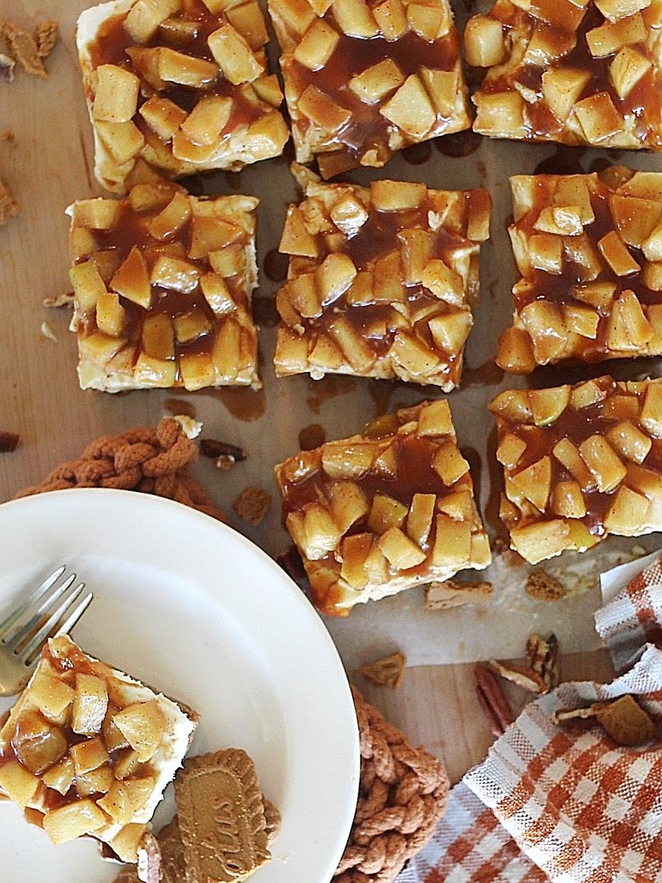 No-Bake Caramel Apple Cheesecake Bars