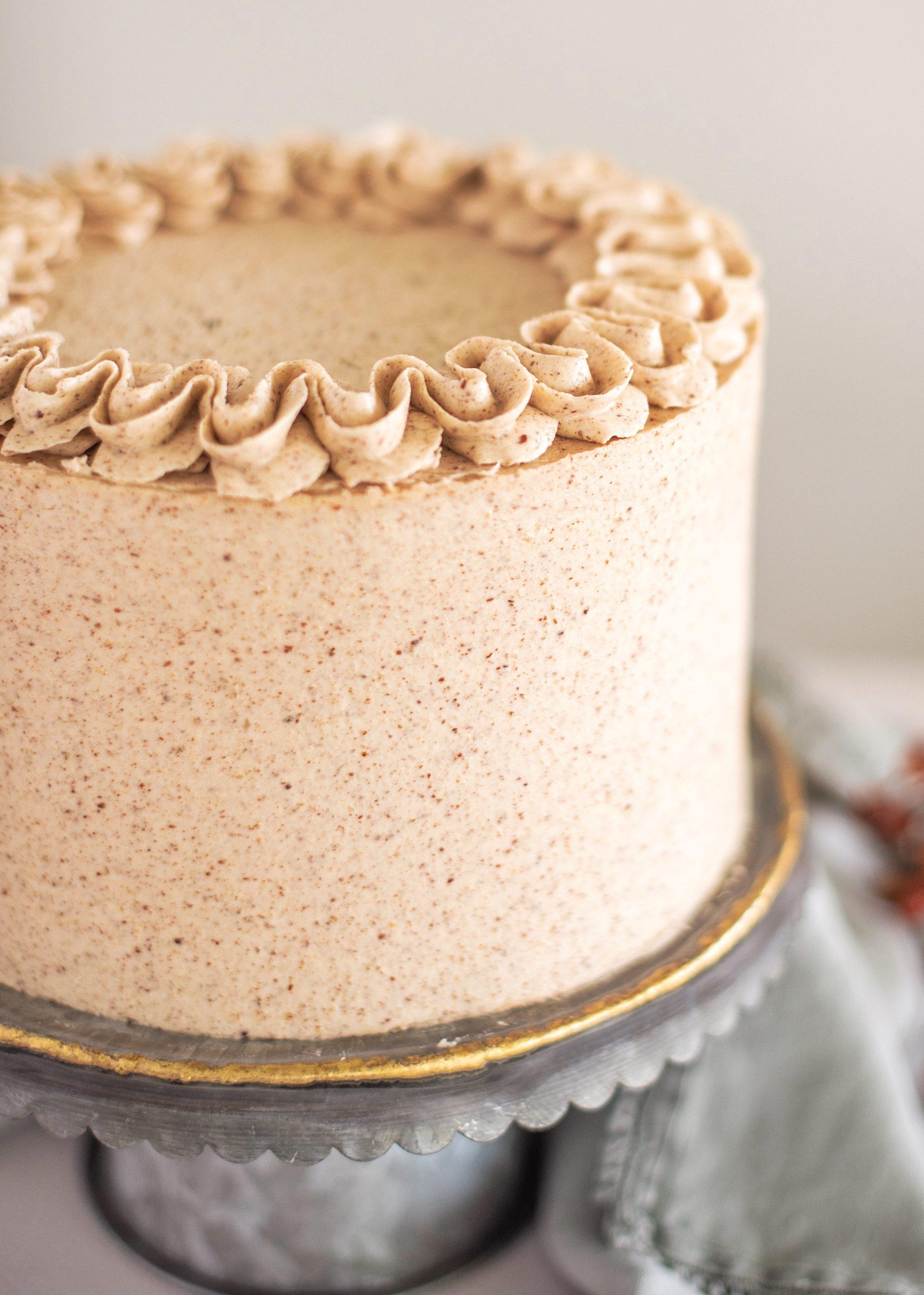 Pumpkin Cake with Pecan Pie Filling