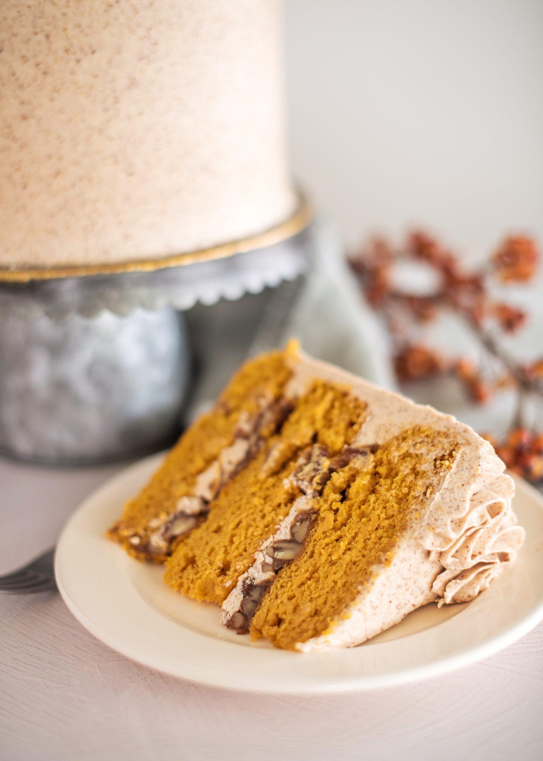 Inside layers of the Pumpkin Butter Pecan Cake